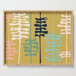 Abstract jungle - mustard Serving Tray