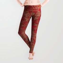 Bohemian Medallion II // 15th Century Old Distressed Red Green Colorful Ornate Accent Rug Pattern Leggings