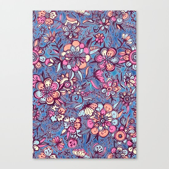 Sweet Spring Floral - soft indigo & candy pastels Canvas Print