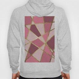 Girly Chic Pink & Burgundy Geo Gold Triangles Hoody