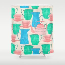 Jugs and Cups Pattern Shower Curtain