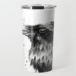 Raven Watercolor Bird Animal Travel Mug
