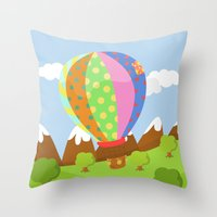 baloon Throw Pillows featuring BALOON (AERIAL VEHICLES) by Alapapaju