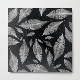 Abstract Silver on black Feather pattern Metal Print