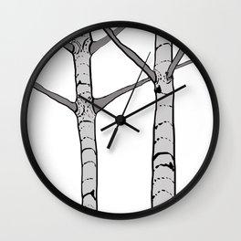 Poplar Tree Illustrated Print Wall Clock
