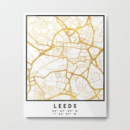 LEEDS ENGLAND CITY STREET MAP ART Metal Print