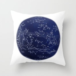 French November Star Map in Deep Navy & Black, Astronomy, Constellation, Celestial Throw Pillow
