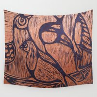 wesley bird Wall Tapestries featuring bird      by Amy Fan