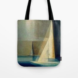 Sailing Yachts in Ocean Blue by Lyonel Feininger Tote Bag