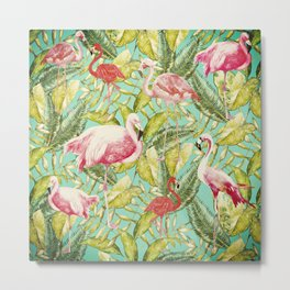 Aloha- Tropical Flamingo Bird and Palm Leaves Garden Metal Print