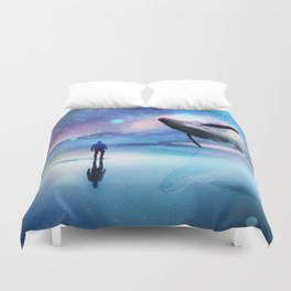 Walking with Whales Duvet Cover
