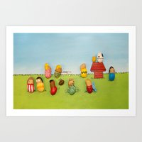 peanuts Art Prints featuring Real Peanuts by Phil Jones