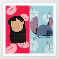 lilo and stitch Art Prints featuring Lilo & Stitch by Raquel Segal