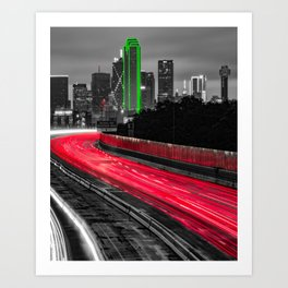 Red Lights And The Green Giant In Dallas Texas - Selective Color Art Print