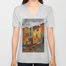 Charles Camoin - Village Street, Collioure Unisex V-Neck
