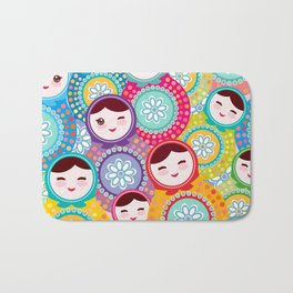 Russian dolls matryoshka, pink blue green colors colorful bright pattern Bath Mat