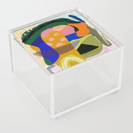 Shapes and Layers no.20 - Abstract painting olive green blue orange black Acrylic Box