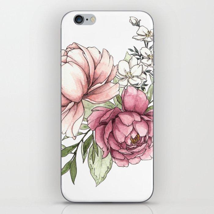 Watercolor Peony - Millennial Pink Peony iPhone Skin