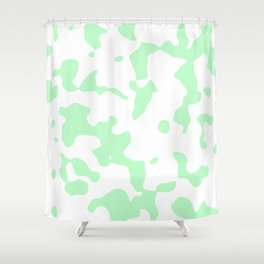Large Spots - White and Light Green Shower Curtain
