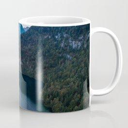 königssee waterfall alps bayern forrest drone aerial shot nature wanderlust boat mountains panorama Coffee Mug