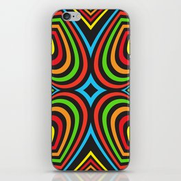 Three-dimensional volumetric pattern. colorful rainbow on black iPhone Skin
