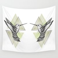hummingbird Wall Tapestries featuring Hummingbird by Barlena