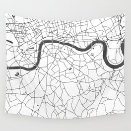 London White on Gray Street Map Wall Tapestry