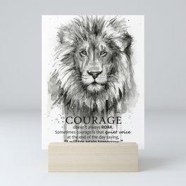 Lion Courage Motivational Quote Watercolor Painting Mini Art Print