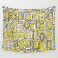 frames Wall Tapestries featuring picture frames aplenty yellow by Sharon Turner