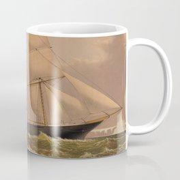 Vintage Illustration of a Frigate Sailboat (1881) Coffee Mug