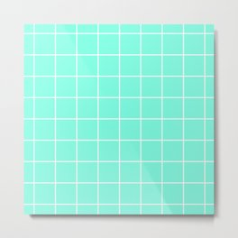 Green Mint Grid Metal Print