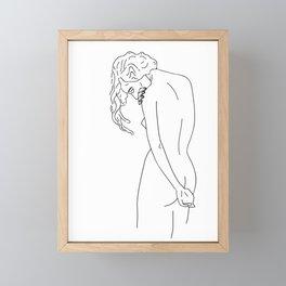 Naked girl with her head down Framed Mini Art Print