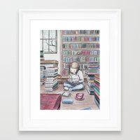 reading Framed Art Prints featuring Reading by ejbeachy