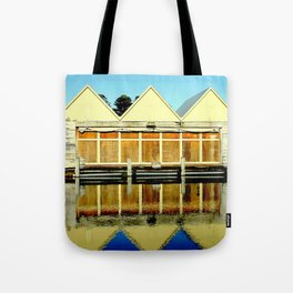 Reflections of an old boat Building Tote Bag