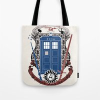 fandom Tote Bags featuring crest of the knight of fandom (a LOT of fandoms actually ;)  by Koroa