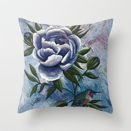 Peony Twilight Remix Throw Pillow