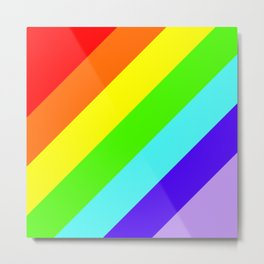 Stripes Diagonal Rainbow Metal Print