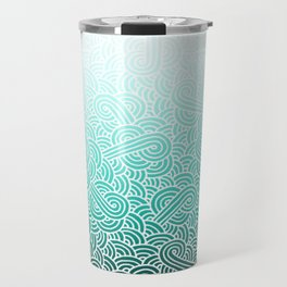 Faded teal blue and white swirls doodles Travel Mug