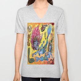 Blue-Finned Mermaids watercolor Unisex V-Neck