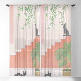 Cat Space II Sheer Curtain