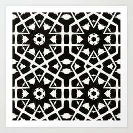 MANTRA - black and white minimal painting abstract art brooklyn trendy mandala street city art work Art Print