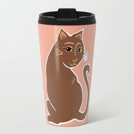 Brown Cat with Yellow Eyes Travel Mug
