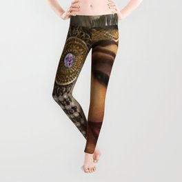 African American Masterpiece 'Cotton Club Flapper Dance Girl' Portrait Painting Leggings