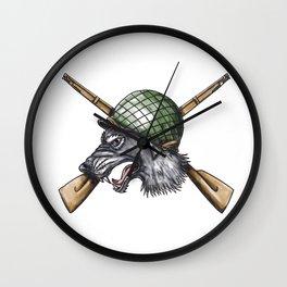 Grey Wolf WW2 Helmet Crossed Rifles Tattoo Wall Clock