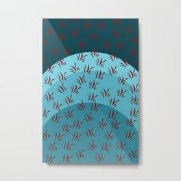Teal Contrast Pattern 1 Metal Print
