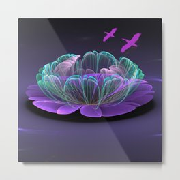 Water lily in a purple pond Metal Print