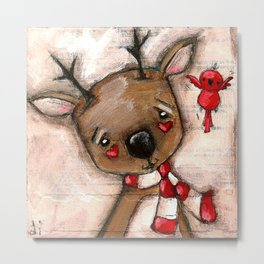 Red Bird and Reindeer - Christmas Holiday Art Metal Print