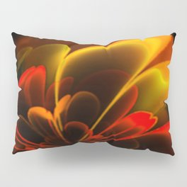 Stylized Half Flower Red Pillow Sham