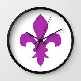Fleur de Lis (Purple & White) Wall Clock
