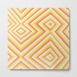 Bright Sunshine - Red, Orange and Yellow Lines - Illusion Art - 57 M Ave Metal Print